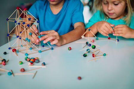 kids making geometric shapes, engineering and STEM