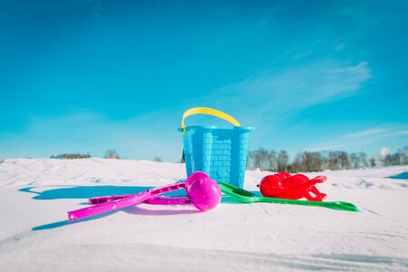 kids toys for making snowballs in winter nature, kids play outdoors