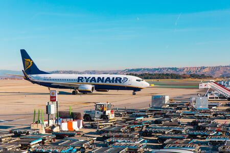 MADRID, SPAIN - JANUARY 05: Ryanair aircraft in the airport on January 05,2019 in Madrid,Spain. Boeing 737-800. Low fares airline. Europe travel.