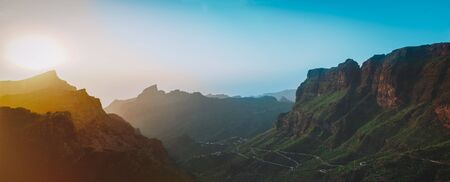 sunset landscape view to famous Maska canyon on Tenerife island Spain, travel concept