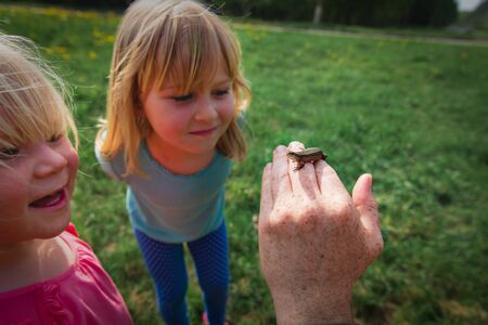kids learning - kids looking at and exploring lizard in nature Imagens - 137961044