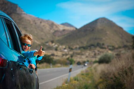 happy little boy enjoy travel by car on road in nature