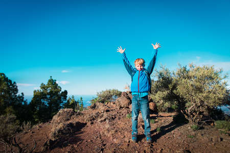 happy kid travel in nature, boy hiking in nature