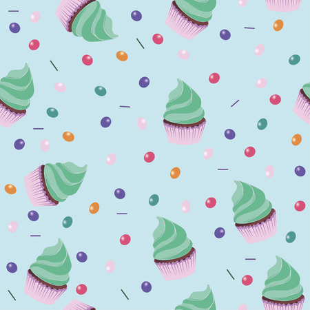 muffins: Background wallpaper with muffins. Vector.