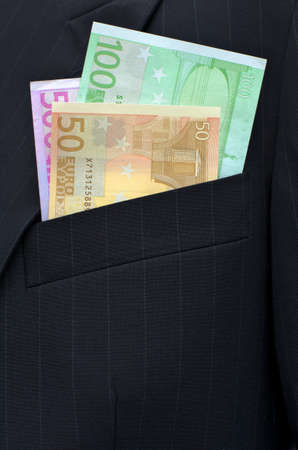 breast pocket: euro banknotes in a breast pocket of a jacket
