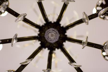 fixtures: Brass chandelier with crystal. Part of chandeliers ceiling fixtures.