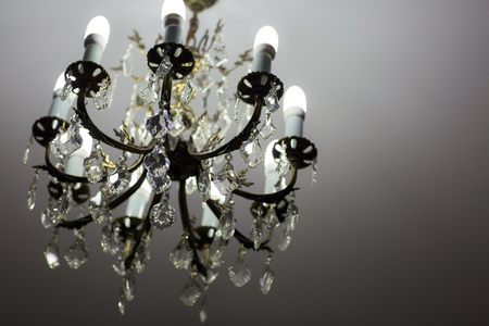 crystal chandelier: Brass chandelier with crystal. Chandelier ceiling lights.