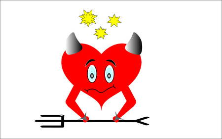 Red heart with horns on white background. To hell with the Trident and the stars overhead.