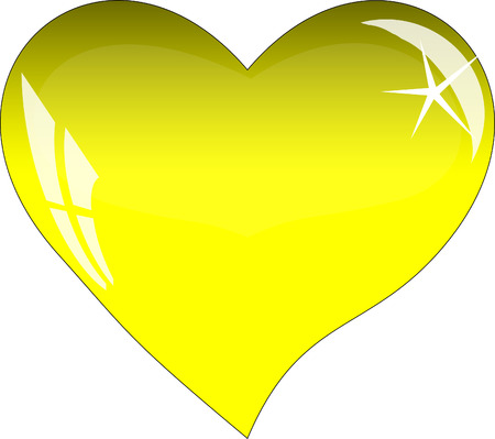 yellow heart: Yellow heart with reflections on a white background. Yellow glass heart.
