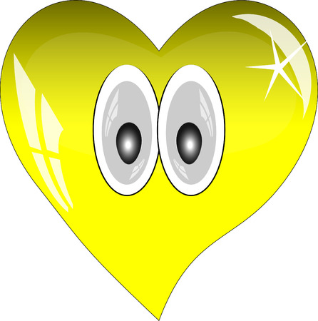 yellow heart: Yellow heart with reflections on a white background. Yellow glass heart with eyes.