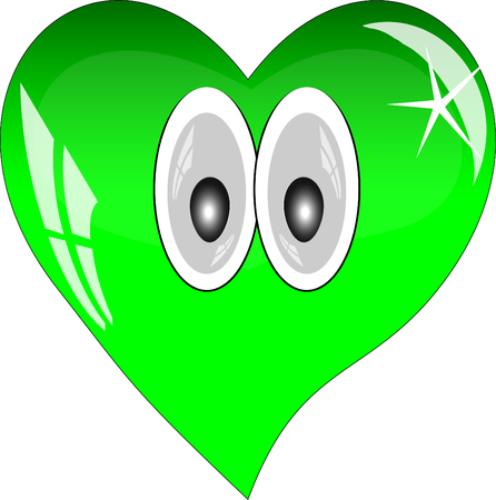 green heart: Green heart with reflections on a white background. Green glass heart with eyes.