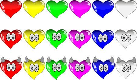 corazones azules: corazones de colores con reflexiones. corazones de cristal multicolores con los ojos y cuernos. Vectores