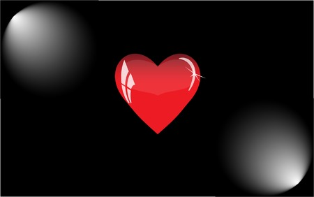 illuminator: Red heart with reflections on a black background. Red glass heart is illuminated by floodlights. Illustration