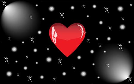 Rotes Herz mit Reflexionen auf einem schwarzen Hintergrund. Red Glas Herz wird durch Flutlicht beleuchtet.