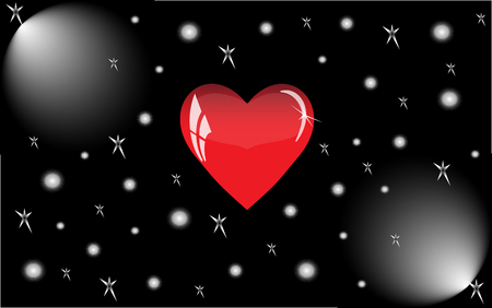 floodlights: Red heart with reflections on a black background. Red glass heart is illuminated by floodlights. Illustration