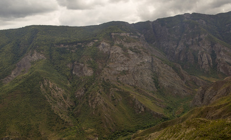 tatev: Mountain landscape. The landscape in Armenia Tatev. The canyon next to the cable car Wings of Tatev. Stock Photo