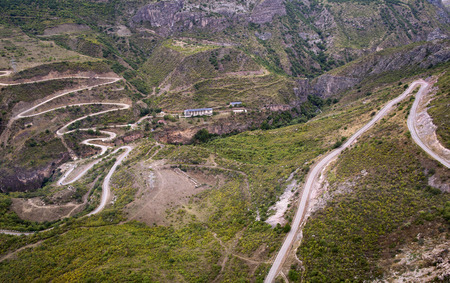 tatev: Mountain landscape. The landscape in Armenia Tatev. Road in the mountains on a cliff.