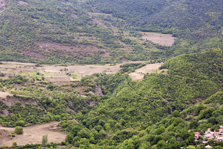 tatev: Forest landscape and a small village. Landscape in Armenia Tatev. Forest in mountains top view.