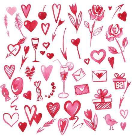 set valentines day pink pattern watercolor