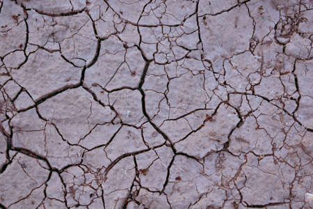 View of dry land with cracks on the lake.