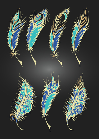 bird feathers: set of color stylized fantastical feathers. Collection of feathers in bright yellow and blue colors.