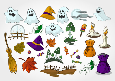 bagful: set of Halloween objects for design, elements and creatures.Colored.