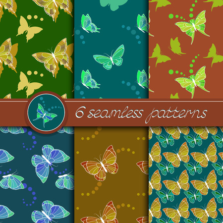 green butterfly: Vector set of seamless patterns with butterflies. Collection of patterns in blue, green, yellow and brown colors.