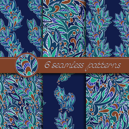brown pattern: Vector set of seamless patterns with floral elements. Collection of patterns in dark blue and brown colors. Illustration