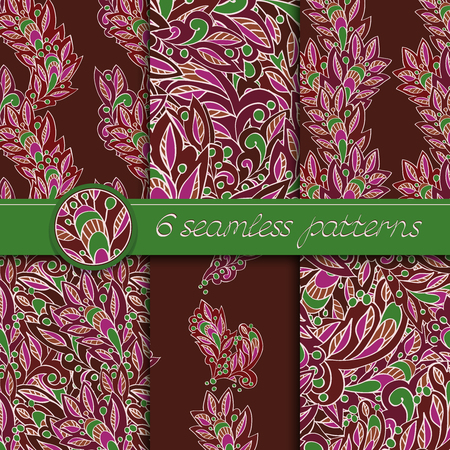 burgundy: Vector set of seamless patterns with floral elements. Collection of patterns in burgundy and green colors.