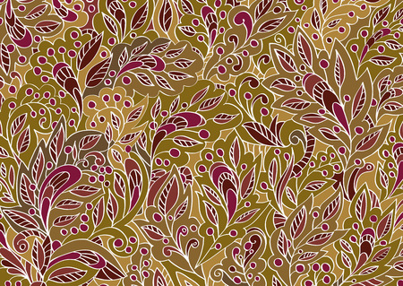 burgundy: Vector colorful floral hand-drawn background pattern. Beige and burgundy background. Illustration