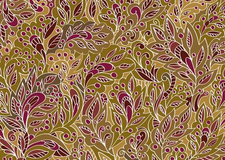 burgundy background: Vector colorful floral hand-drawn background pattern. Beige and burgundy background. Illustration