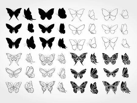 Vector set of butterflies Stock Illustratie