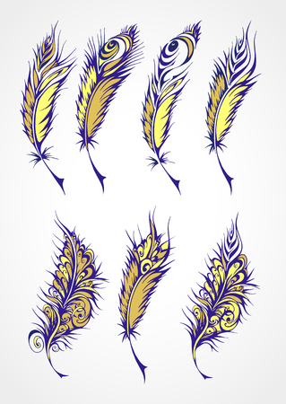 fantastical: Vector  set of color stylized fantastical feathers. Collection of feathers in yellow and blue colors.