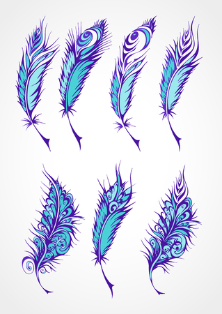 fantastical: Vector  set of color stylized fantastical feathers. Collection of feathers in blue colors.
