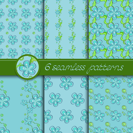 light blue: Vector set of seamless patterns with floral elements. Collection of patterns in light blue and green colors.