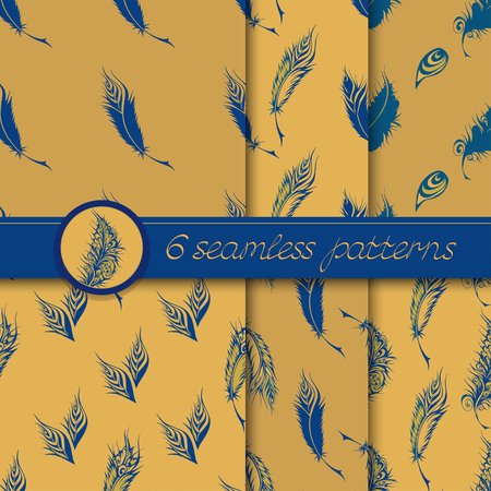 fantastical: Vector set of six seamless patterns with stylized fantastical feathers. Collection of patterns blue and beige colors.