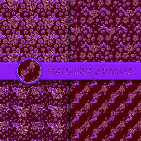 rojo oscuro: Vector conjunto de patrones sin fisuras con elementos florales. Colecci�n de patrones en oscuros colores rojo y violeta. Vectores