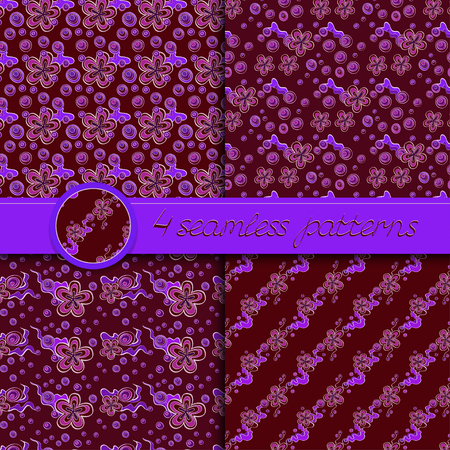 dark red: Vector set of seamless patterns with floral elements. Collection of patterns in dark red and violet colors.