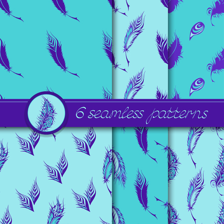 fantastical: Vector set of six seamless patterns with stylized fantastical feathers. Collection of patterns in blue colors. Illustration
