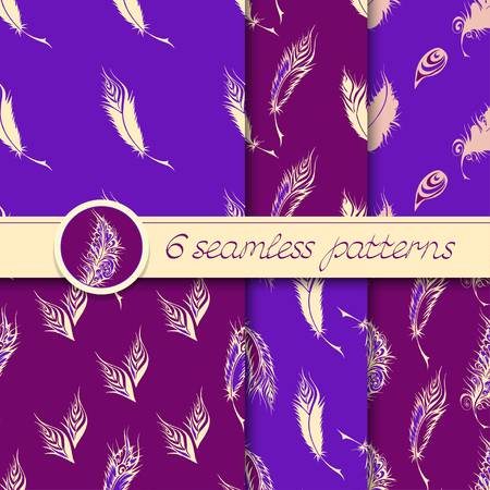lightweight ornaments: Vector set of six seamless patterns with stylized fantastical feathers. Collection of patterns in purple and light yellow colors. Illustration