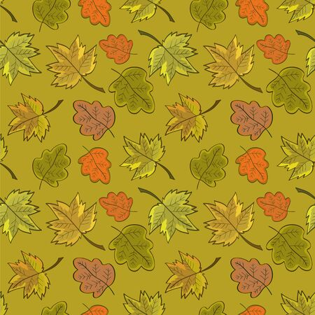Seamless pattern with colored autumn leaves, in soft colors. On a green background. Illustration