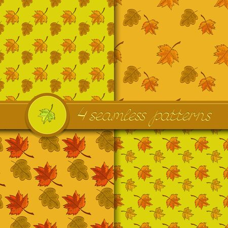 leafage: Vector set of four seamless patterns with colored autumn leaves, in soft colors.