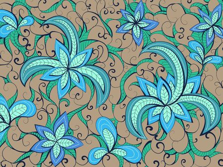 light brown: Vector floral hand drawn background pattern. Light brown, blue and green  background.