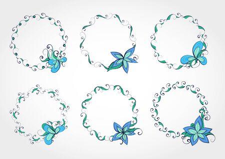 marcos redondos: Conjunto de vectores de marcos redondos florales para su diseño con lugar para el texto. En colores azul y verde. Vectores
