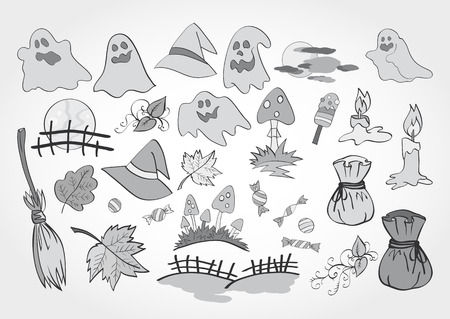 bagful: Vector set of Halloween objects for design, elements and creatures. Monochrome.