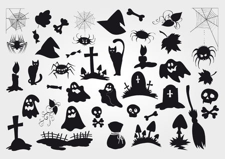 bagful: Big vector set of Halloween black silhouettes objects and creatures for your design. Illustration
