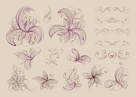 burgundy: Set of vector floral elements and objects for design. Collection of elements in  beige and burgundy colors.