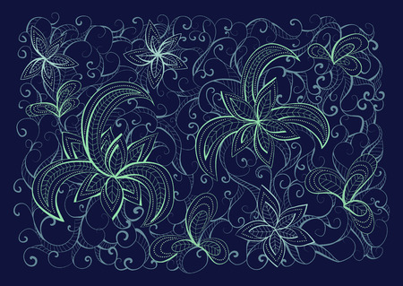 light blue: Vector floral hand drawn background pattern. Dark blue, light blue and light green background.