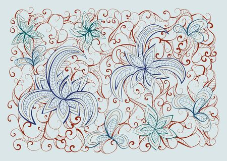 light brown: Vector floral hand drawn background pattern. Light  blue, blue and  brown  background.