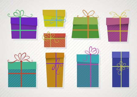 ribbons and bows: set of colored gifts with ribbons and bows Illustration